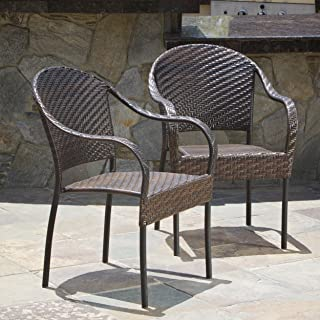 Christopher Knight Home 216404 Set of 2 Outdoor Stackable Wicker Dining Armchairs, Brown