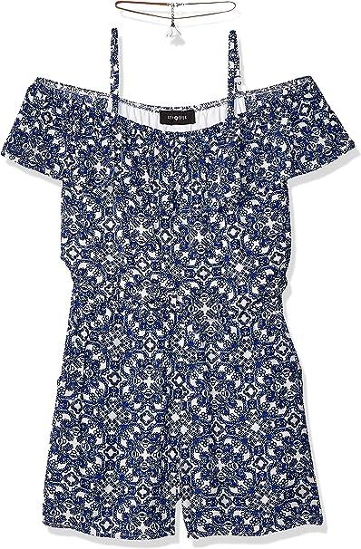 Amy Byer Girls Long Sleeve Off Shoulder Print Romper