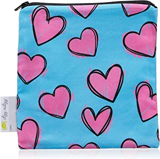 "Itzy Ritzy Reusable Snack Bag - 7"" x 7"" BPA-Free Snack Bag is Food Safe, Washable and Ideal for Storing Snacks, Pacifiers, Electronics and Makeup in a Diaper Bag, Purse or Travel Bag, Hearts"