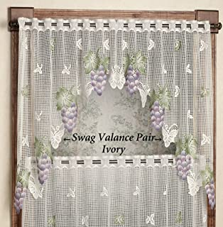 Touch of Class Vineyard Grape Lace Swag Valance Pair 66 x 36