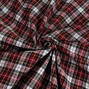Textile Creations Classic Yarn-Dyed Tartan Plaid, Yard, White/Red Multi