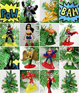 DC Comic Super Hero 14 Piece Christmas Tree Ornament Set Featuring Iconic Super Hero Characters