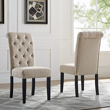 Roundhill Furniture Leviton Solid Wood Tufted Dining Chair, Set of 2, Tan