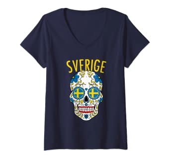Amazon Com Womens Vintage Sweden Sugar Skull Sverige Flag Halloween Gift V Neck T Shirt Clothing