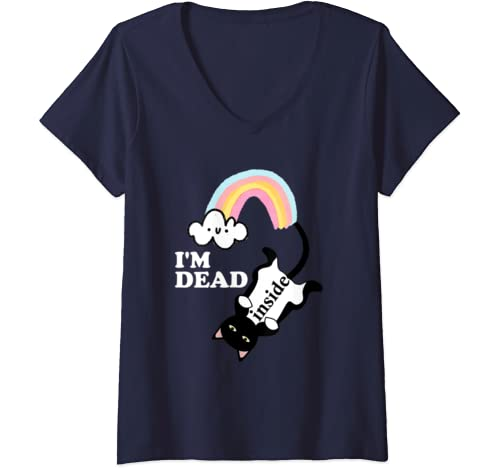 Womens I'm Dead Inside Shirt,Rainbow Cat Gift,Funny Sarcastic Quote V Neck T Shirt
