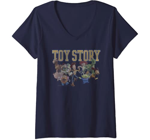Womens Disney Pixar Toy Story Group Shot Run V Neck T Shirt