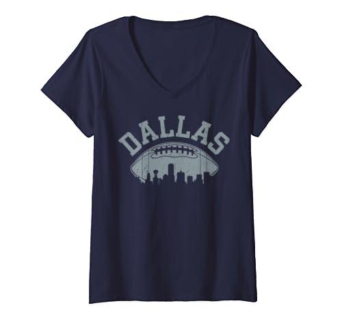 Womens Dallas Texas Vintage Distressed Football V Neck T Shirt