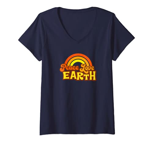 Womens Peace Love Earth   70s, 80s Orange Retro Rainbow Hippie V Neck T Shirt