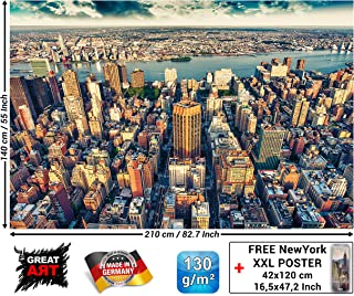 Mural – Penthouse View Over New York at Dusk – Wall Decoration City Sightseeing Motf Mural Metropolis Motiv XXL Wallpaper Picture (82.7 x 55 Inch / 210 x 140 cm)