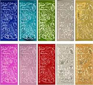 Uniporium Dazzles Stickers Collection | 360 Unicorn-Themed Embossed Stickers in a Variety of Finishes & Colors for Scrapbooking, Card Making, Crafting & Other Arts and Crafts Projects – 10 Sheets