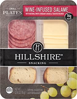 Hillshire Snacking Small Plates, Wine-Infused Salame with White Cheddar Cheese, 2.76 oz. (12 count)