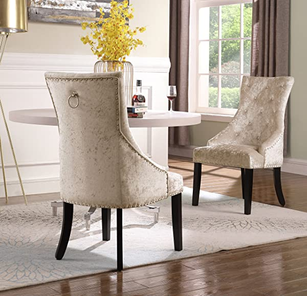 Iconic Home Raizel Dining Side Accent Chair Button Tufted Velvet Upholstery Nail Head Trim Tapered Espresso Wood Legs Modern Transitional Taupe Set Of 2