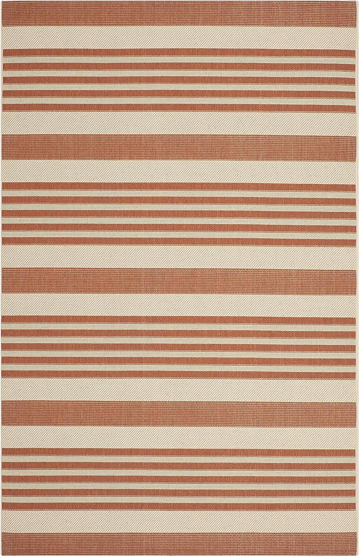 Safavieh Gestreifter Teppich für den Innen- und Auenbereich, CY6062, Gewebter Polypropylen, Terrakotta Beige, 160 x 230 cm
