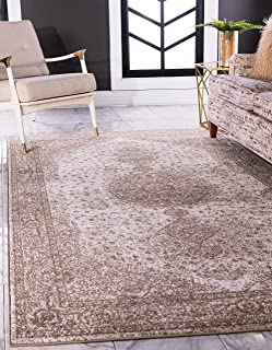 Unique Loom Bromley Collection Vintage Traditional Medallion Border Light Brown Area Rug (4' 0 x 6' 0)