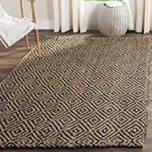 Safavieh Natural Fiber Collection NF181C Hand-woven Jute Area Rug, 3' x 5', Natural/Black
