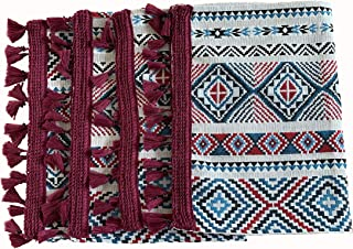 Eight Owls Placemats for Dining Table – Boho Style Place Mats with Tassel Fringe - Woven Design – Burgundy, Red, Black, Blue, Vanilla - Set of 4 - Size 13 x 19 Inch