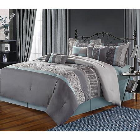 Amazon Com Chic Home 43ck117 An 8 Piece Euphoria Embroidered Comforter Set King Dark Grey Green Home Kitchen