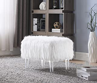 Iconic Home Fiorino Modern Contemporary Faux Fur Acrylic Leg Bench, White