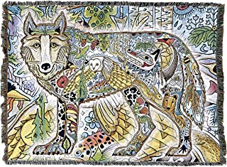 Pure Country Weavers Wild Wolf Blanket, Native American Style Colorful Animal Throw Blanket, Pacific Northwest Totem Design by Sue Coccia – Woven Wolf Tapestry w/Cotton Fringe (72x54) Made in USA