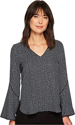 Calvin Klein - Tweed Print Flare Sleeve Blouse