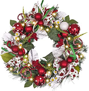 Valery Madelyn Pre-Lit 24 Inch Delightful Elf Christmas Wreath for Front Door with Ball Ornaments, Berries, Candy Canes, Ribbons and Flowers, Battery Operated 20 LED Lights