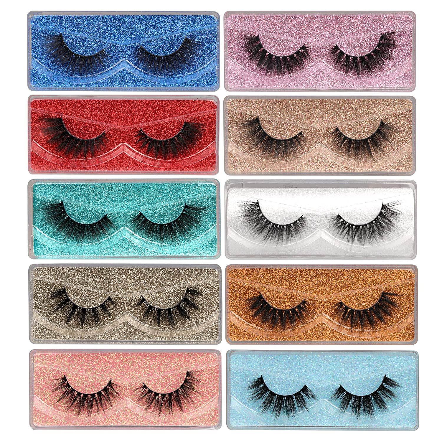 False Eyelashes Wispy 18mm Be super Free shipping / New welcome Natural 3D Mink Pack 10 Faux Lashes P