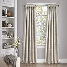 Eclipse 15455052108IVY Mallory 52-Inch by 108-Inch Blackout Floral Single Window Curtain Panel, Ivory