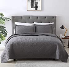EXQ Home Quilt Set Full Queen Size Grey 3 Piece,Lightweight Microfiber Coverlet Modern Style Squares Pattern Bedspread Set