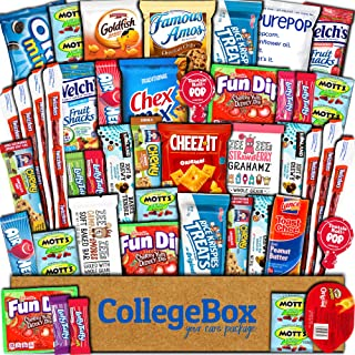 CollegeBox Care Package (45 Count) Snacks Food Cookies Granola Bar Chip Candy Ultimate Variety Gift Box Pack Assortment Basket Bundle Mix Bulk Sampler Treat College Students Final Exam Father's Day