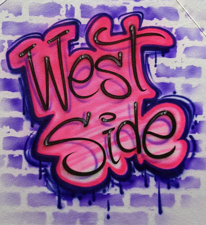 Airbrush Graffiti Pink low-pricing Purple Name Wall Brick Design Translated Shirt T