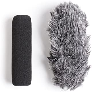 Movo WS-G7 Foam and Furry Indoor, Outdoor Microphone Windscreen Combo Pack - Custom Fit for Rode VideoMic Go