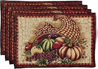HomeCrate Fall Harvest Collection, Tapestry Cornucopia with Pumpkins and Fruits Design Set of 4 Placemats, 13