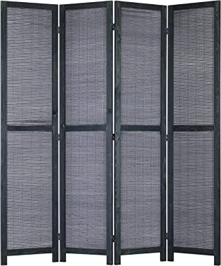 MyGift 4-Panel Bamboo Woven Wood Room Divider with Dual-Action Hinges, Gray