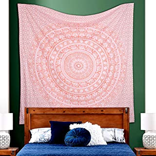 raajsee Glittering Rose Gold Elephant Tapestry Wall Hanging Mandala-Bohemian Room Decor-Indian Cotton Throw Hippie Tapestries -Boho Bedding White Golden Queen Bedspread 210x220cm- A