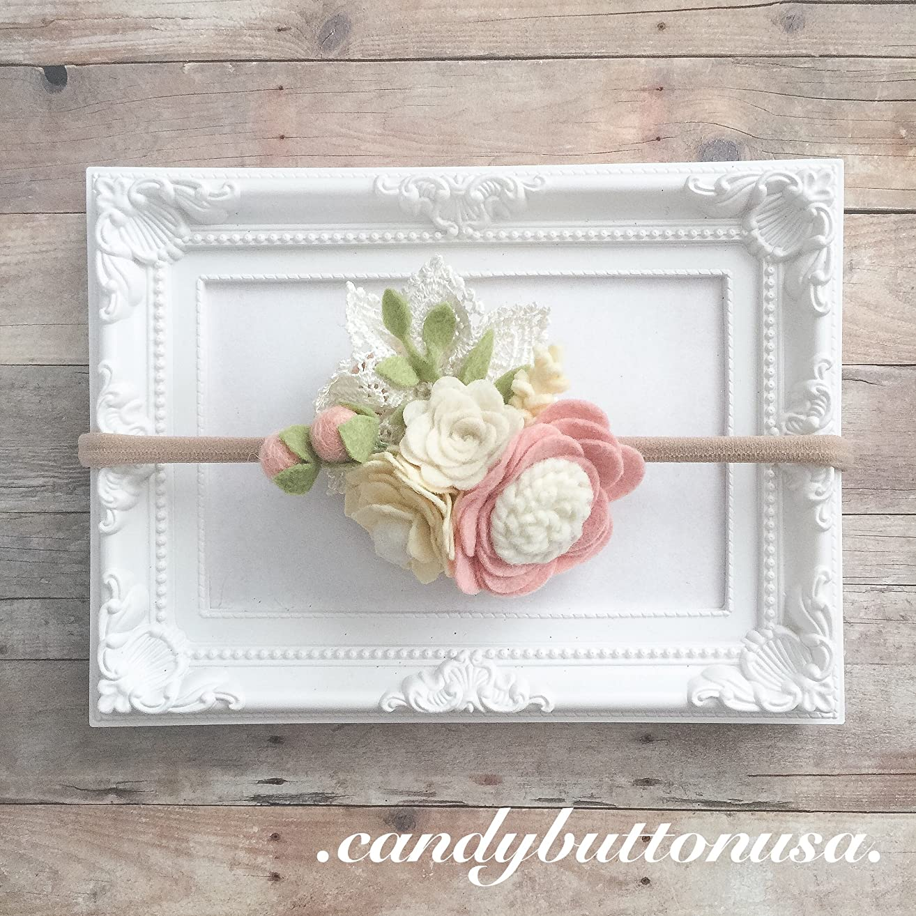 Blush Felt Baby Headband | Floral Crown | Felt Headband | One Size Fits Most