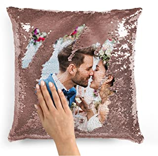 Best Custom Photo Sequin Pillow Cases | Rose Gold Mermaid Sequin Pillow Case w Any Picture | Magic Reversible Throw Pillowcases Decorative Cushion&Pillow Cover for Couch - Home Decor Personalized Gifts Review