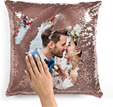 Custom Photo Sequin Pillow Cases | Rose Gold Mermaid Sequin Pillow Case w Any Picture | Magic Reversible Throw Pillowcases Decorative Cushion&Pillow Cover for Couch - Home Decor Personalized Gifts