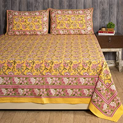 """Ravaiyaa - Attitude is everything Hand Block Printed Floral Design Cotton Double Bedspread Bedsheet Bedding with 2 Pillow Covers 108"""" X 90"""" Inch (Yellow)"""