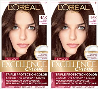 L'Oreal Paris Excellence Creme Permanent Hair Color, 4AR Dark Chocolate Brown, 2 Count 100% Gray Coverage Hair Dye