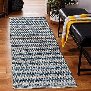CHARDIN HOME Farmhouse Rag Rug Runner 2x5 feet Denim Blue   Cotton Hand Woven Chindi Rug, Long Boho Rug   Perfect for Hallways, Kitchens, Bathroom, bedrooms   Blue & White Chevron