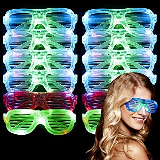 Occhiali Luminosi Colorati Clevoers Occhiali Luminosi A LED Occhiali da Sole A LED Lampeggianti Occhiali da Rave al Neon LED Occhiali Luminosi per Halloween Christmas Rave Party