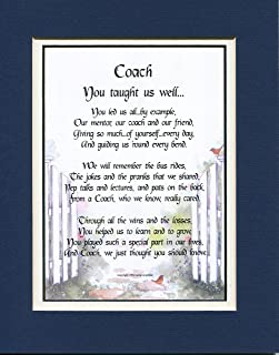 Thank-You Appreciation Gift Present Coach Double-Matted Navy Over White Poem Soccer Football Basketball Swimming Wrestling Baseball