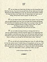 Desiderata Gallery Brand - If Poem by Rudyard Kipling in 1895. (Author of The Jungle Book) 8.5x11 Archival Parchment