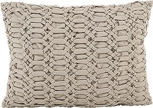 وسادة أريكة محشوة بالقطن بتصميم منقوش من SARO LIFESTYLE مقاس 35.56 سم × 50.8 سم، باللون الرمادي الداكن