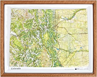 American Educational Colorado Natural Color Relief Map with Oak Wood Frame, 17-3/4