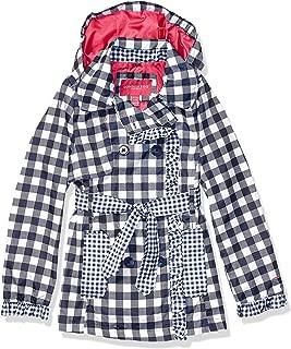 London Fog Girls' Big Lightweight Trench Dress Coat Jacket, Navy Gingham, 14/16