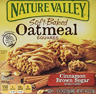 Nature Valley, Soft Baked Oatmeal Squares, Cinnamon Brown Sugar, 7.44oz Box (Pack of 4)