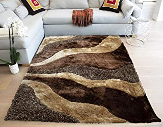 Rug 3D Neutral Modern Contemporary Fluffy Fuzzy Furry Flokati Soft Thick Plush Large Striped Patterned 8-Feet-by-10-Feet Polyester Made Area Carpet Brown Chocolate Beige Tan Gold Colors