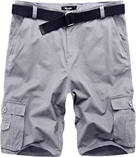 355a85ad4e8 Wantdo Men s Summer Belted Cotton Work Shorts Loose Fit Cargo Shorts