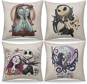 GVNSEN Halloween Romantic The Nightmare Before Christmas Set of 4 Decorative Throw Pillow Covers, 18 x 18 Inch, Jack Sally Halloween Horror Skull Cushion Covers, Sofa Home Room Decor